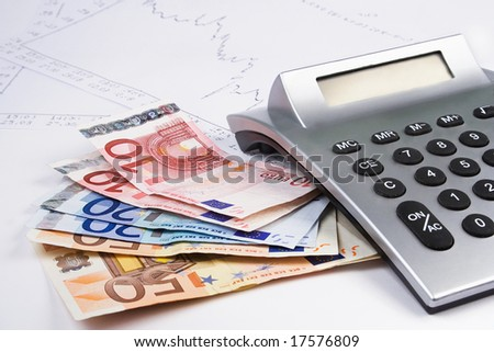 Business accessories calculator diagram and euro