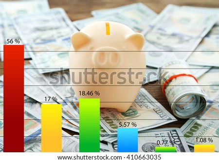 Business accounting concept. Piggy bank on pile of dollars background - stock photo