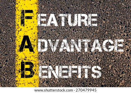 Business Acronym FAB - Feature Advantage Benefits. Yellow paint line on the road against asphalt background. Conceptual image - stock photo