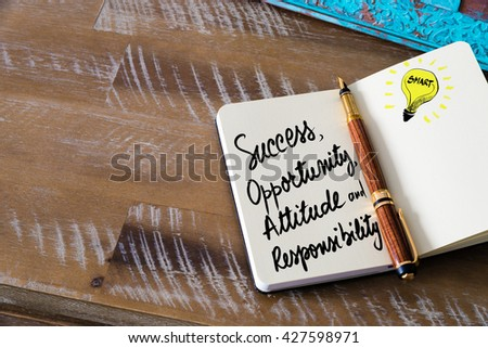 Business Acronym SOAR as Success, Opportunity, Attitude and Responsibility written with fountain pen on notebook. Concept image with copy space available. - stock photo