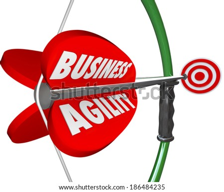 Business Agility Bow Arrow Target Fast Action Change Adaptation - stock photo