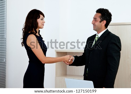 business agreement concept with businesswoman and businessman handshake - stock photo