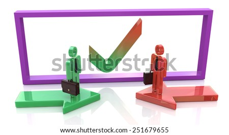 Business agreement. 3d people - human character, person with briefcase and tie  - stock photo