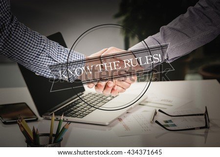 BUSINESS AGREEMENT PARTNERSHIP Know The Rules! COMMUNICATION CONCEPT - stock photo