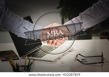 BUSINESS AGREEMENT PARTNERSHIP MBA COMMUNICATION EDUCATION CONCEPT - stock photo