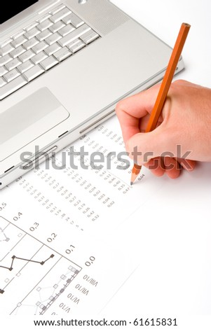 Business analysis and analyst workplace - stock photo
