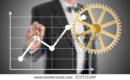 Business analysis concept drawn by a businessman in background