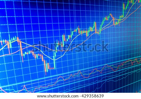 Business analysis diagram. Share price quotes. Currency trading theme. Conceptual view of the foreign exchange market. Stock market chart, graph on blue background. Blue screen of finance data.
