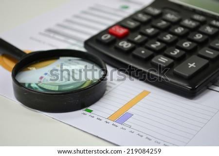 Business analytics. Calculator, financial reports - stock photo