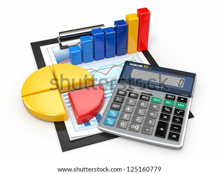 Business analytics. Calculator, financial reports and graphics. - stock photo
