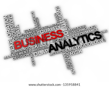 business analytics word cloud over white background - stock photo