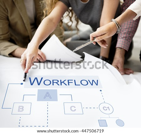 Business Analytics Workflow Process Project Concept - stock photo