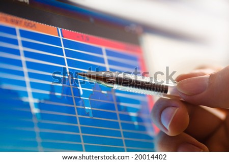 business analyze - closeup on lcd screen - stock photo