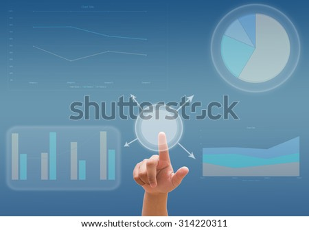 business analyze graph and working with touch screen technology