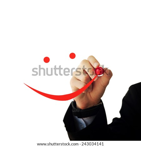 Business and advertisement concept. Close up of businessman drawing a happy face - stock photo