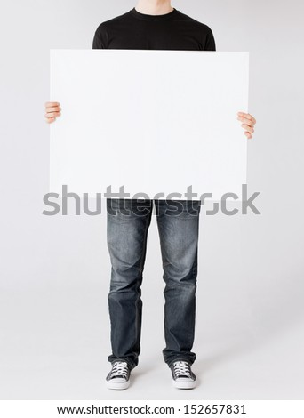 business and advertisement concept - man showing white blank board - stock photo