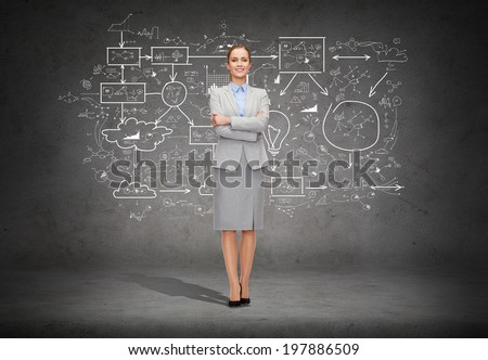 business and education concept - friendly young smiling businesswoman with crossed arms and big plan on the back - stock photo