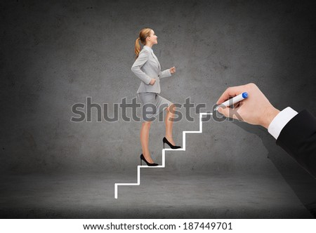 business and education concept - smiling businesswoman stepping up staircase - stock photo