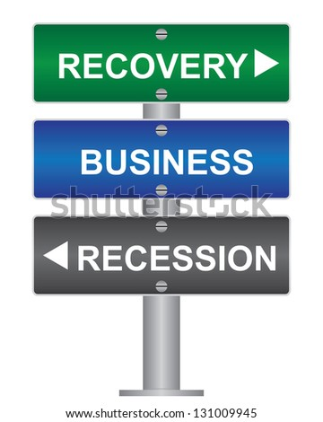 Business and Finance Concept Present By Green, Blue and Gray Street Sign Pointing to Recovery, Business and Recession Isolated On White Background
