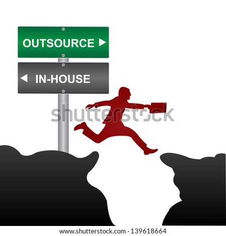 Business and Finance Concept Present By Jumping Through The Valley Gap With Green and Gray Street Sign Pointing to Outsource and In-House Isolate on White Background