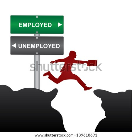 Business and Finance Concept Present By Jumping Through The Valley Gap With Green and Gray Street Sign Pointing to Employed and Unemployed Isolate on White Background - stock photo