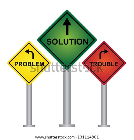 Business and Finance Concept Present By Rhombus Yellow, Green and Red Street Sign Pointing to Problem, Solution and Trouble Isolated On White Background