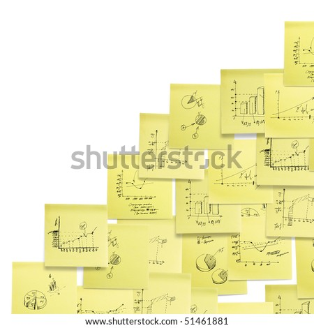 Business and finance giagram and analyzing on white background. Corner composition. - stock photo