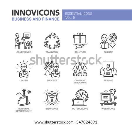 business finance modern vector thin line stock vector 525900481