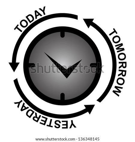 Business and Finance or Time Management Concept Present By Clock With Today, Tomorrow and Yesterday Arrow Around Isolated on White Background - stock photo