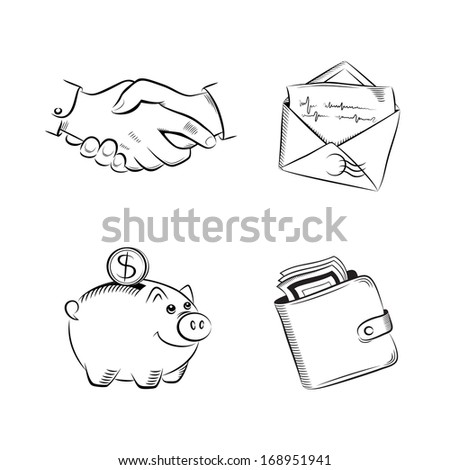 Business and finance vector set - stock photo