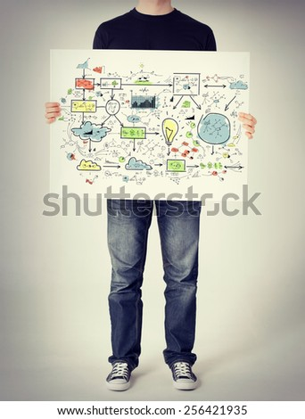business and finances concept - man showing big plan on white board - stock photo