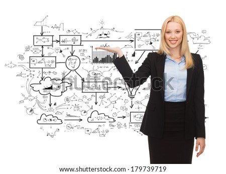 business and finances concept - smiling woman showing big plan on her hand