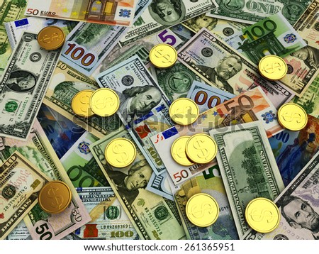 Business and financial concept. Heap of different money bills and golden coins - stock photo