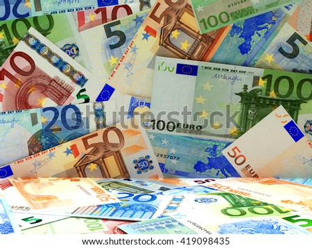 Business and financial concept. Heap of euro bills abstract background. 3d illustration