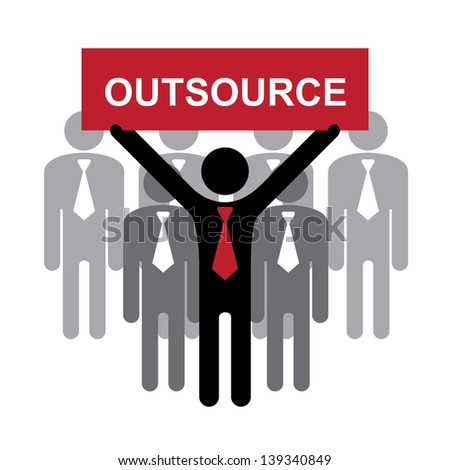 Business and Financial Concept Present By Group of Businessman With Red Outsource Sign on Hand Isolated on White Background - stock photo