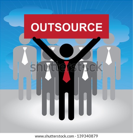 Business and Financial Concept Present By Group of Businessman With Red Outsource Sign on Hand in Blue Sky Background - stock photo
