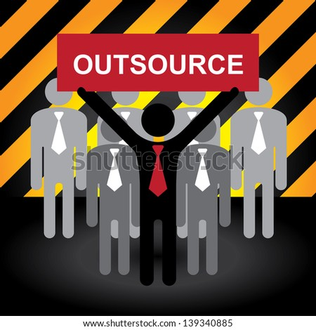 Business and Financial Concept Present By Group of Businessman With Red Outsource Sign on Hand in Caution Zone Dark and Yellow Background - stock photo