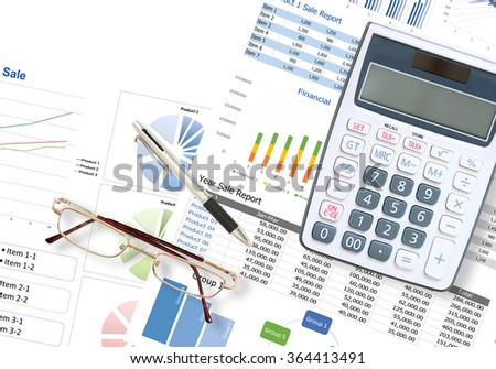 Business and financial graph and figure report on desk in the office