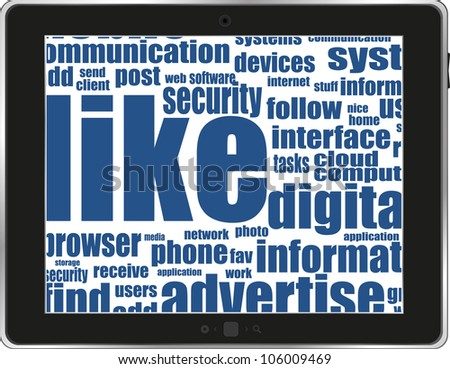 Business and financial words on tablet pc screen. Raster - stock photo