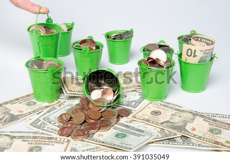 business and investment concept with coins and money