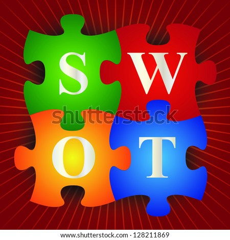 Business and Marketing Concept Present By Colorful SWOT Puzzle in Red Shiny Background - stock photo