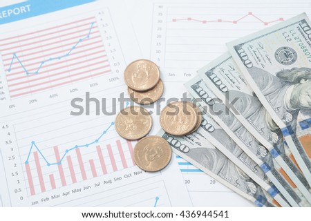 Business and marketing statistic with money graph, data gathering and market analysis.