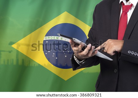 business and mobility communications concept Brazil Flag background - stock photo