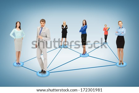 business and networking concept - social or business network - stock photo