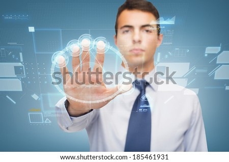 business and office, ban, veto, warning concept - attractive buisnessman working with virtual screen - stock photo