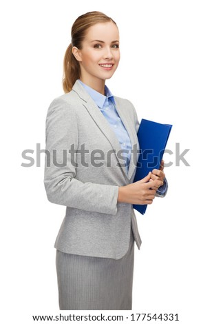 business and office concept - smiling businesswoman with folder - stock photo