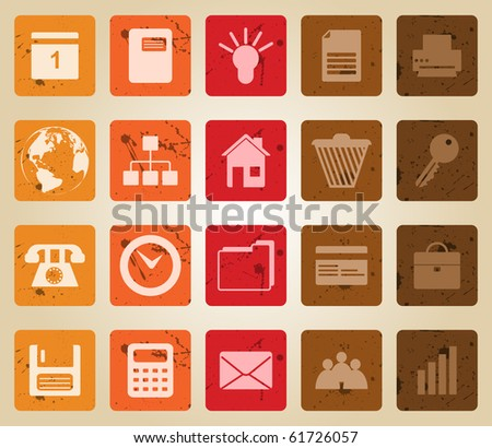 Business and office set of different web icons. Retro style.