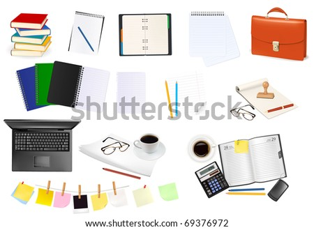 Business and office supplies. Raster version of vector. - stock photo