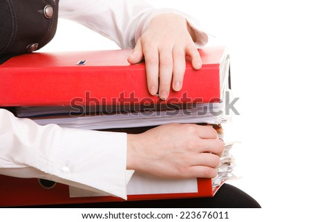 Business and paperwork. businesswoman holding stack of folders documents. Busy woman working in office. - stock photo