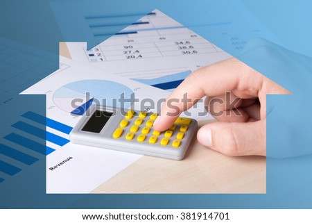 business and real estate concept - close up of graphs, charts and male hand with calculator - stock photo